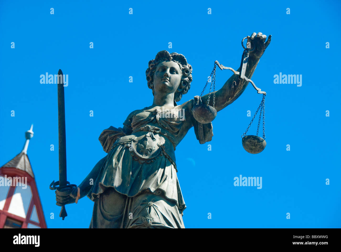 The Sculpture of the Justitia Bronze work in Frankfurt am Main Germany - Stock Image