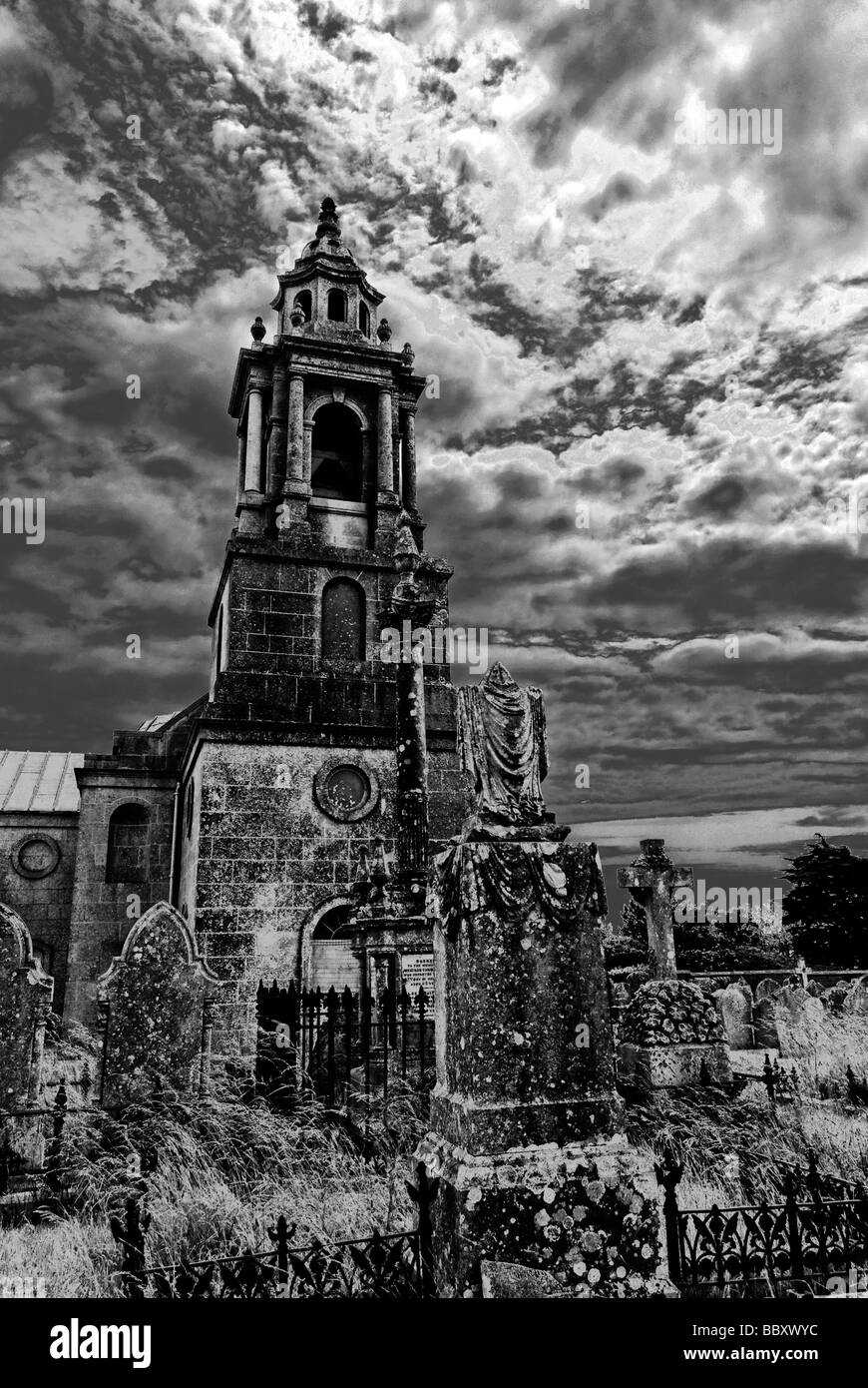 St George's Church & graveyard (solarised effect) - Stock Image