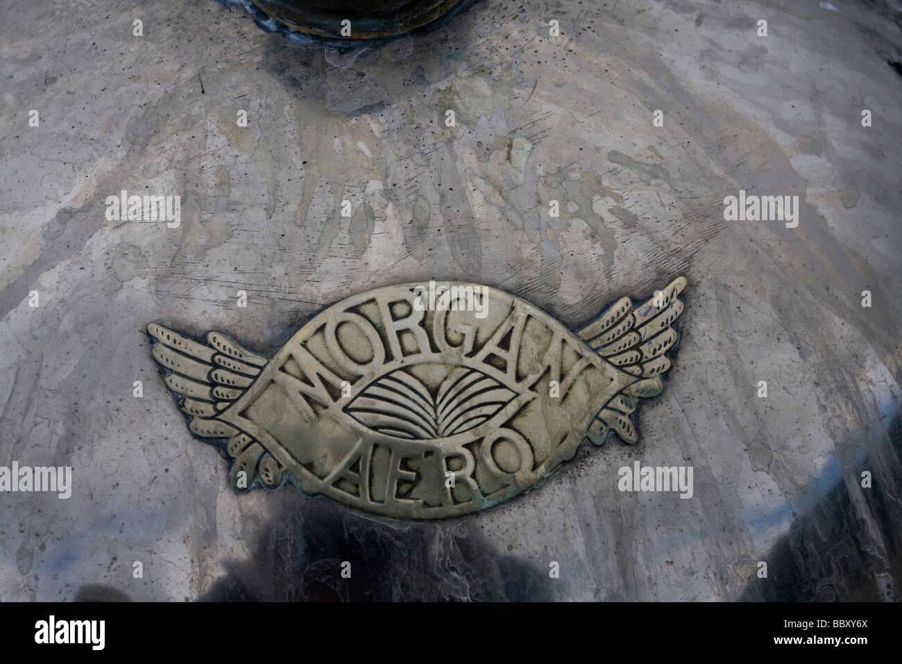 Morgan Aero Motor Car Detail Badge on Bonnet - Stock Image