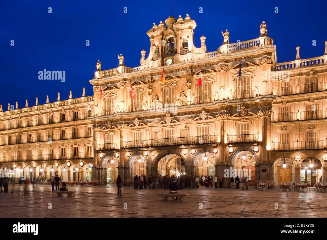 Plaza Mayor at dusk, Salamanca, Spain Stock Photo