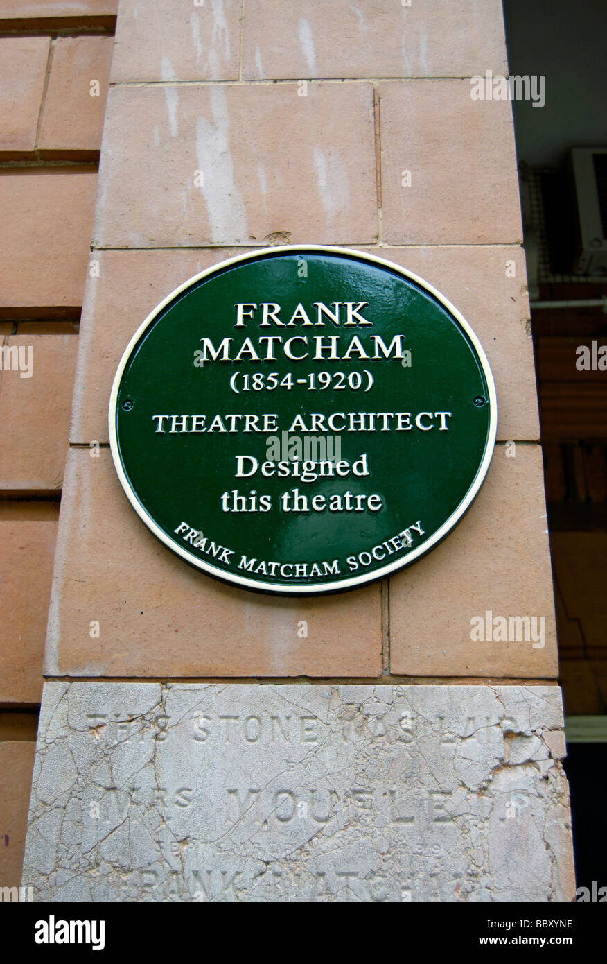 plaque at the richmond theatre, richmond, surrey  england, stating that the theatre was designed by the renowned - Stock Image