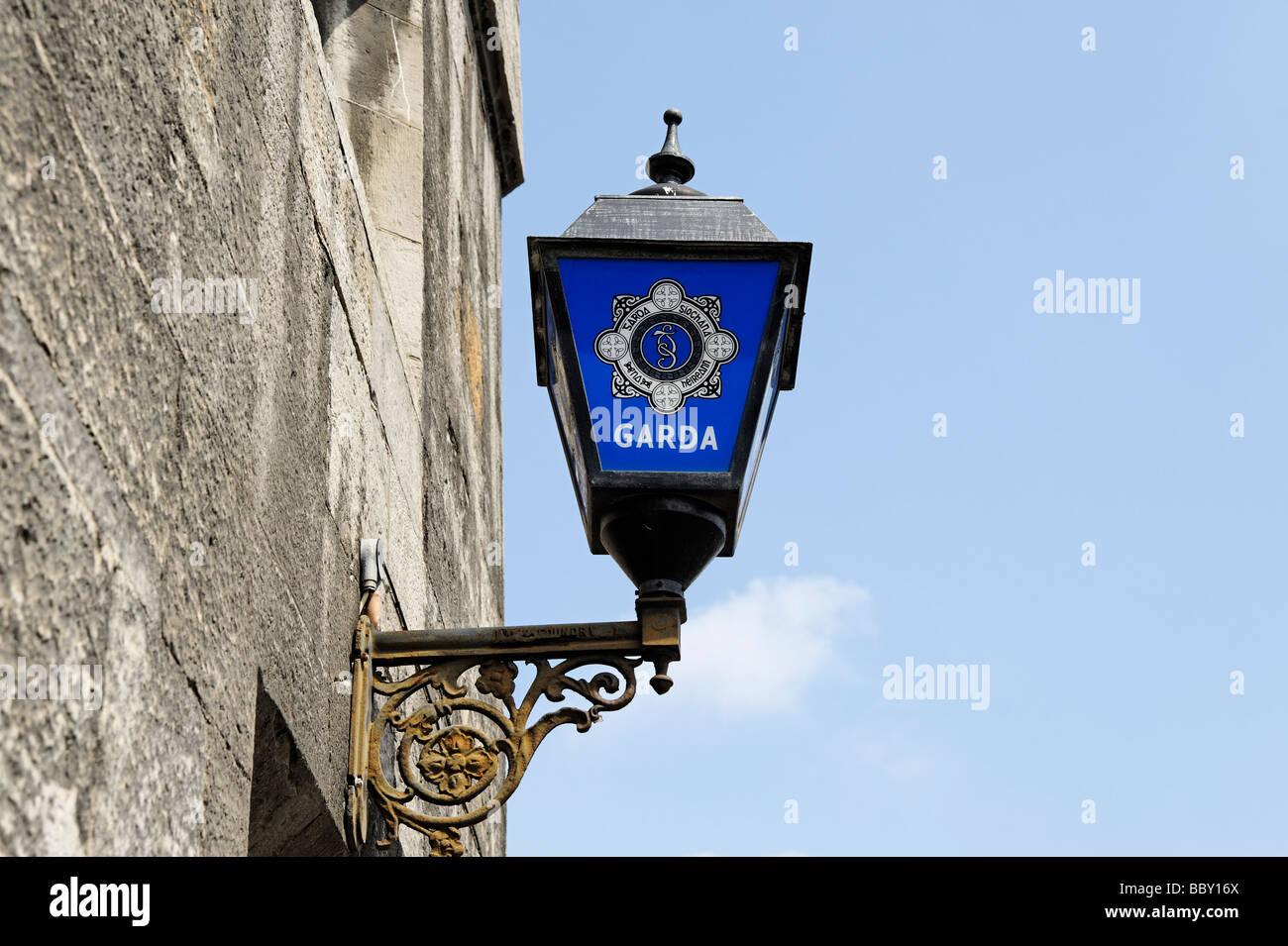 Irish Garda police lamp sign Dublin Republic of Ireland - Stock Image