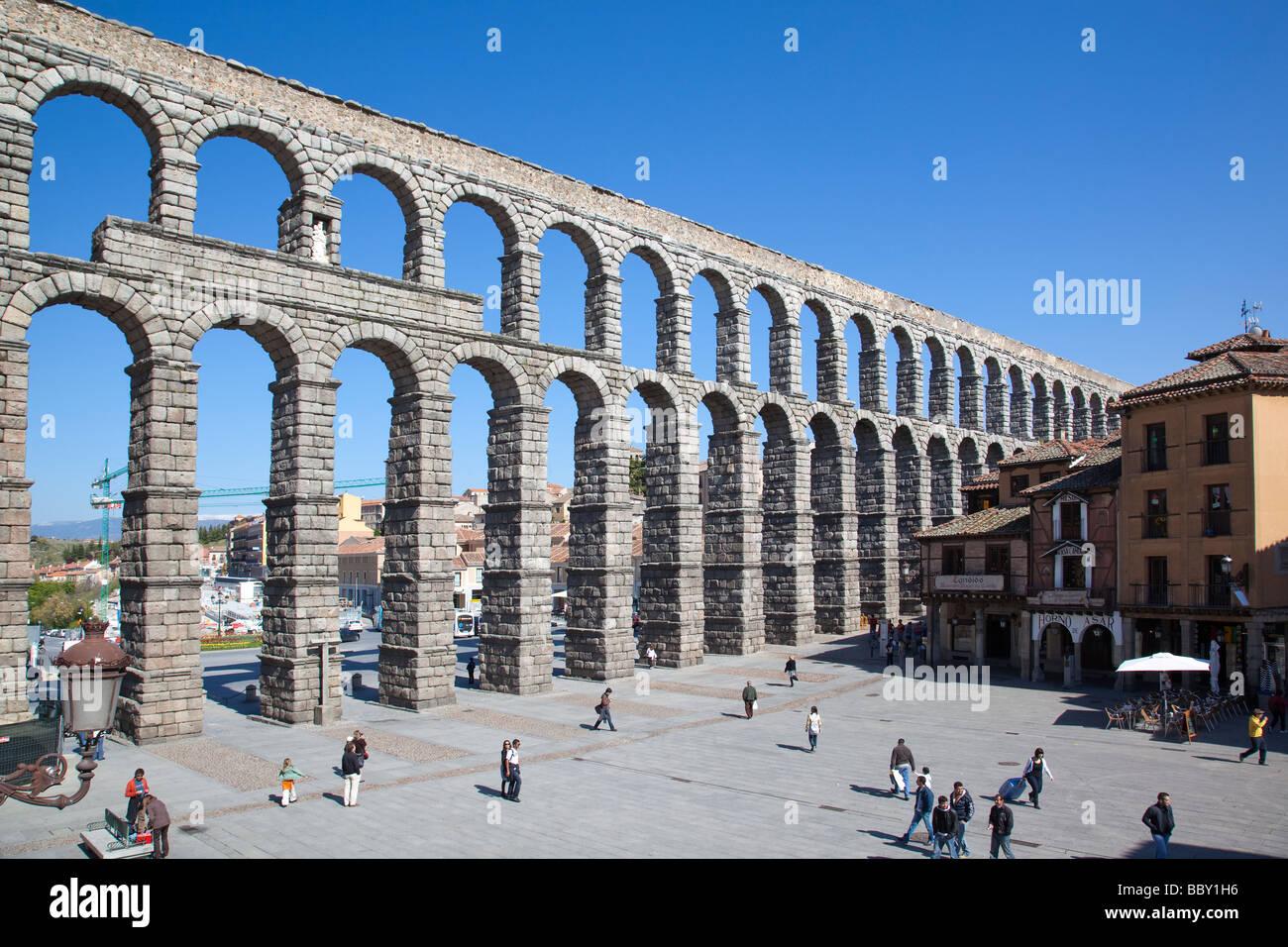 Aqueduct of Segovia, Roman aqueduct, Segovia, Spain - Stock Image