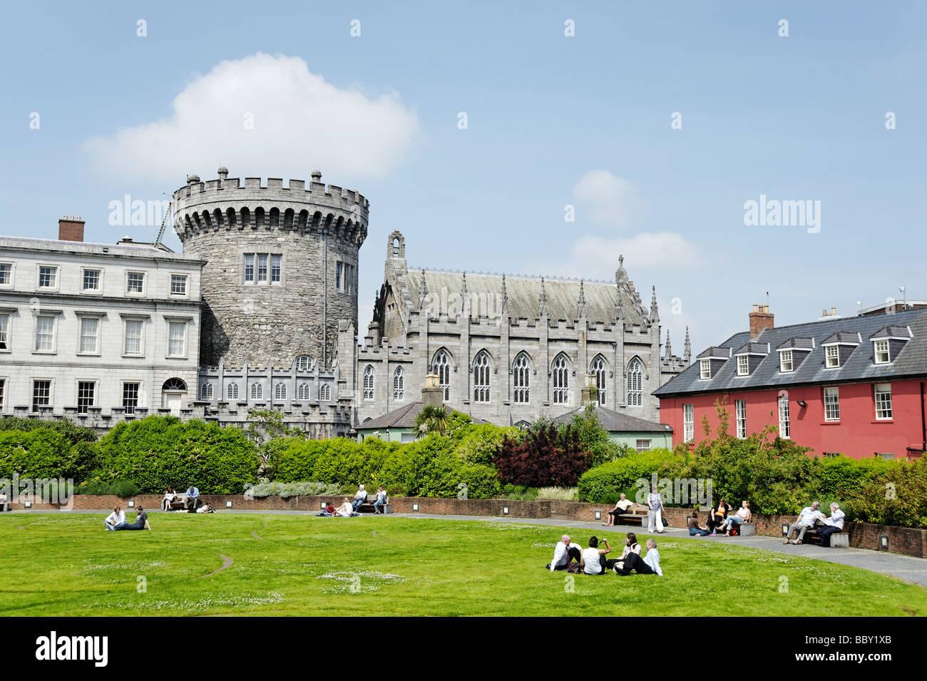 Overlooking Dublinn Garden to Record Tower at Dublin Castle Dublin Republic of Ireland - Stock Image