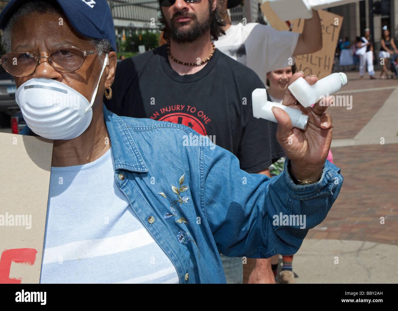 Demonstrators Demand Closing of Trash Incinerator - Stock Image