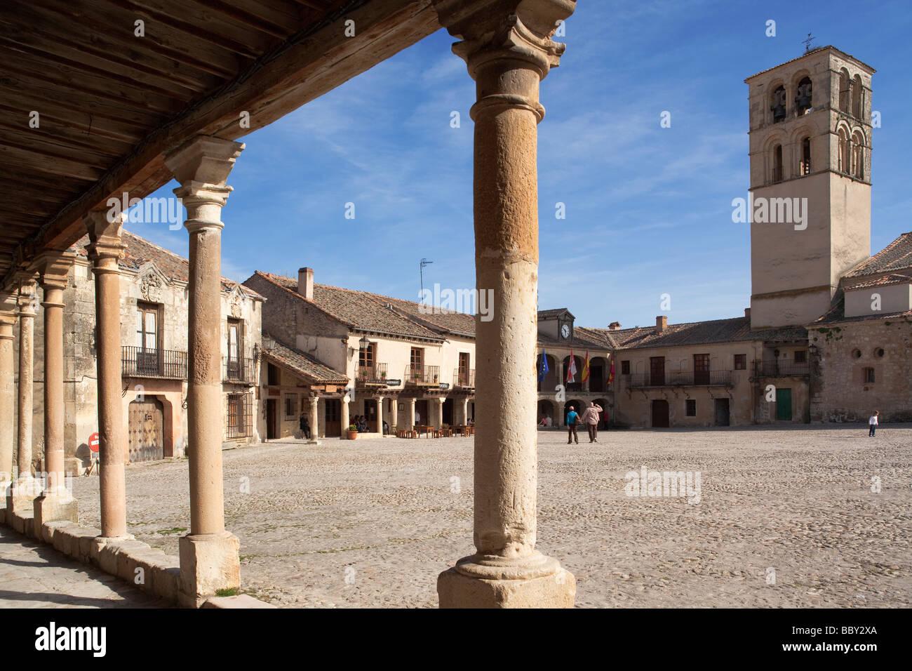 Town square Pedraza de la Sierra, Spain - Stock Image