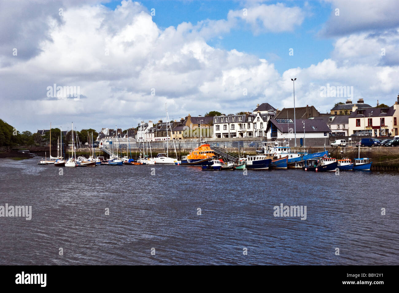 Stornoway inner Harbour Stornoway on the Isle of Lewis Outer Hebrides Scotland with a variety of vessels moored - Stock Image