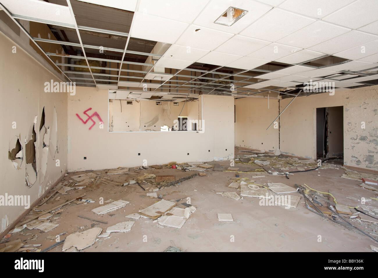 derelict office - Stock Image