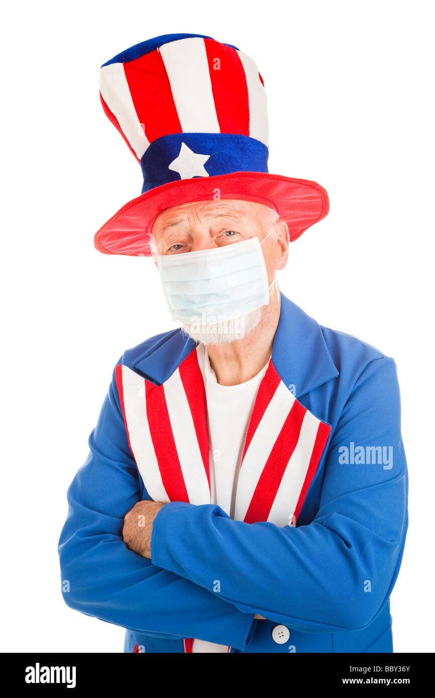 American Symbol Uncle Sam Wearing A Face Mask To Protect Against A