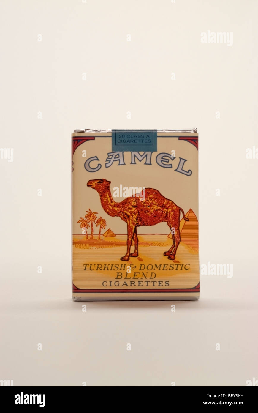Package of Camel Cigarettes. Camel's are one of the top five selling cigarettes in the United States. - Stock Image