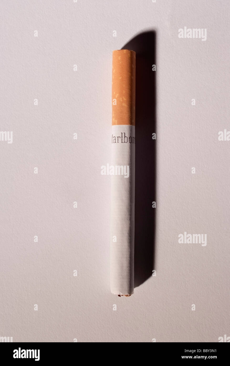 A Filtered Cigarette on a light background. In 2009 the U.S. Senate began debate allowing the U.S. FDA to regulate - Stock Image