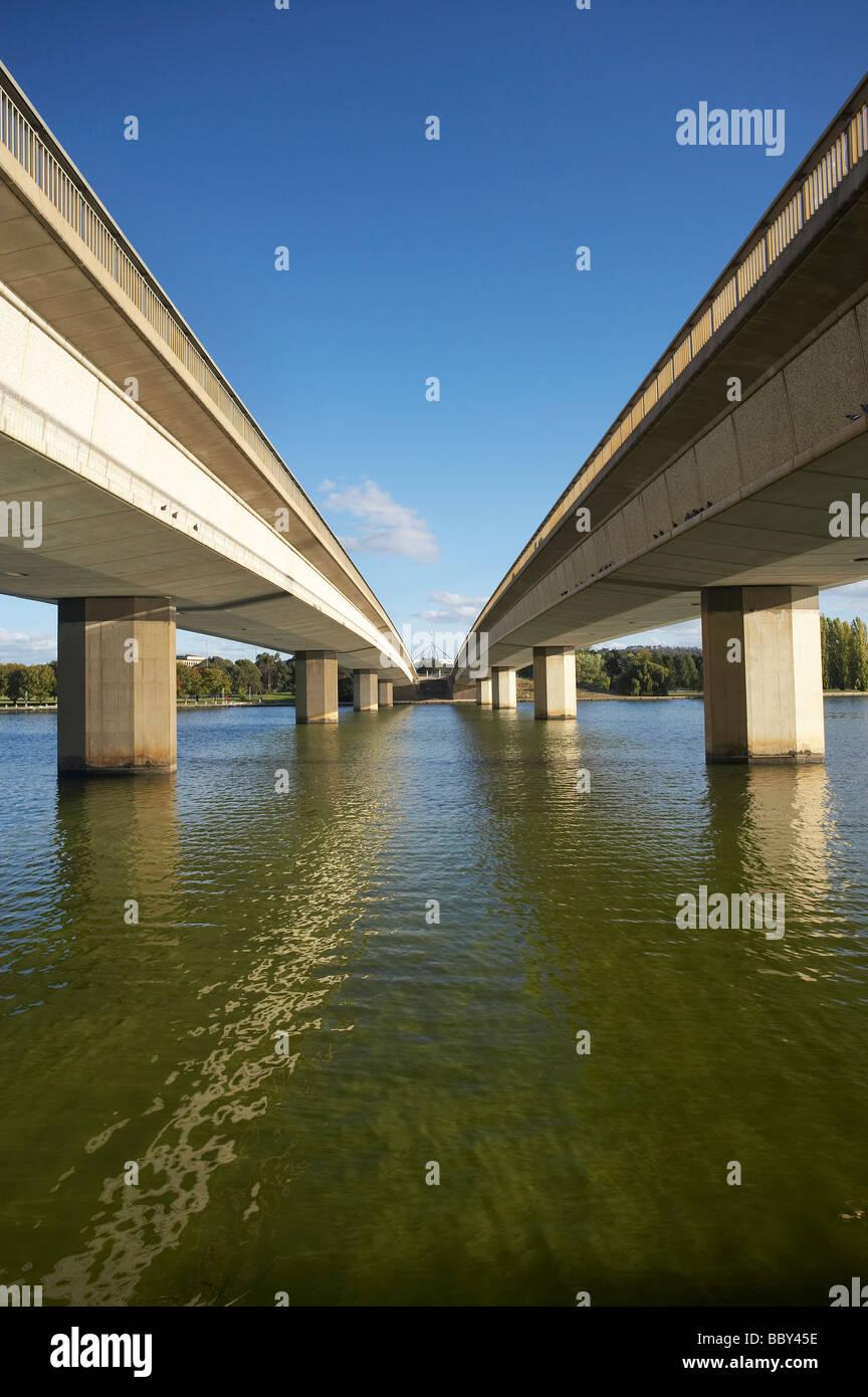 Commonwealth Avenue Bridge Lake Burley Griffin Canberra ACT Australia - Stock Image