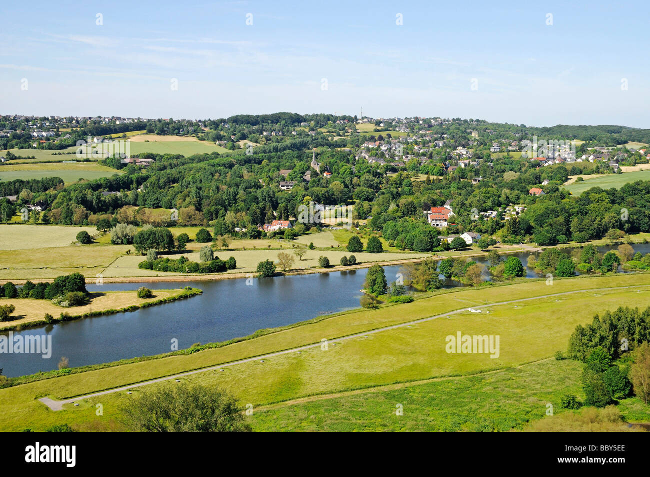 Bochum Stiepel, view from the castle to the Ruhr valley and the river Ruhr, Blankenstein, Hattingen, North Rhine - Stock Image