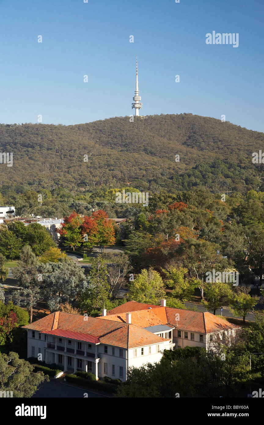Australian National University Campus and Telstra Tower and Black Mountain Canberra ACT Australia - Stock Image