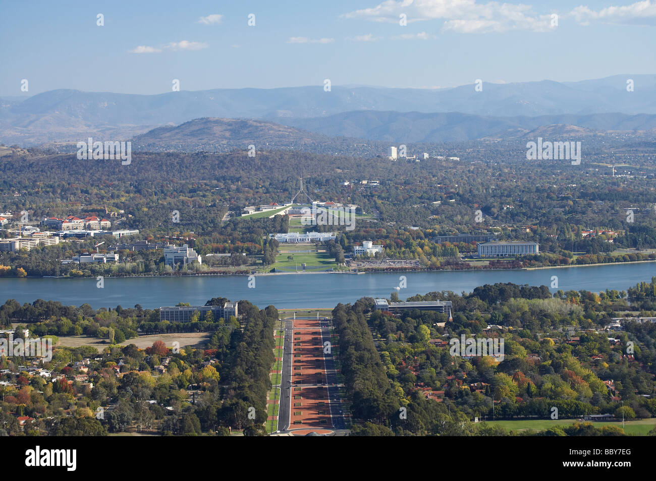 Parliament House Capital Hill Old Parliament House Lake Burley Griffin and ANZAC Parade Canberra ACT Australia - Stock Image