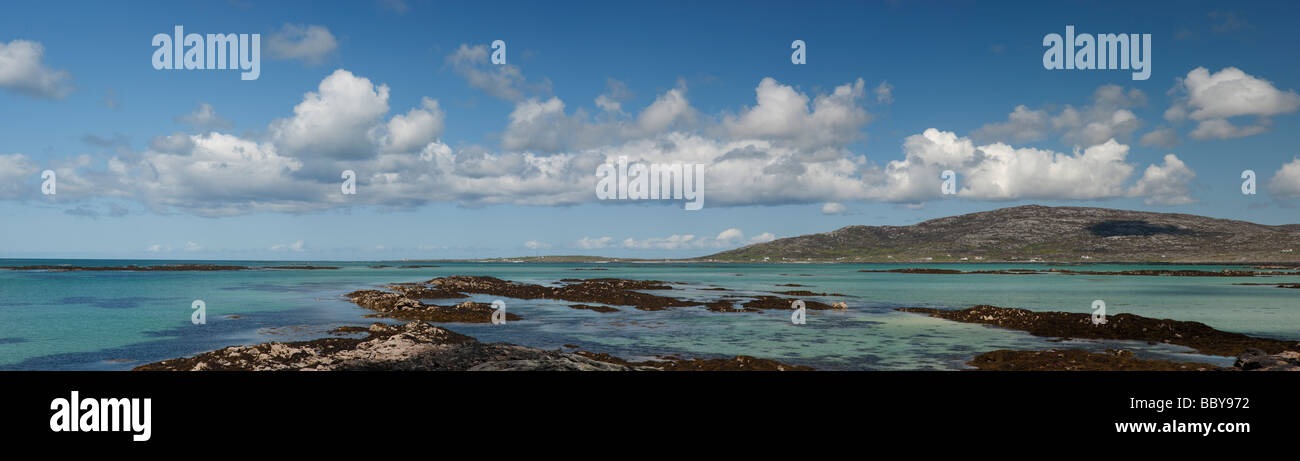 Panoramic vista looking from Eriskay, to South Uist, Outer Hebrides, Scotland - Stock Image