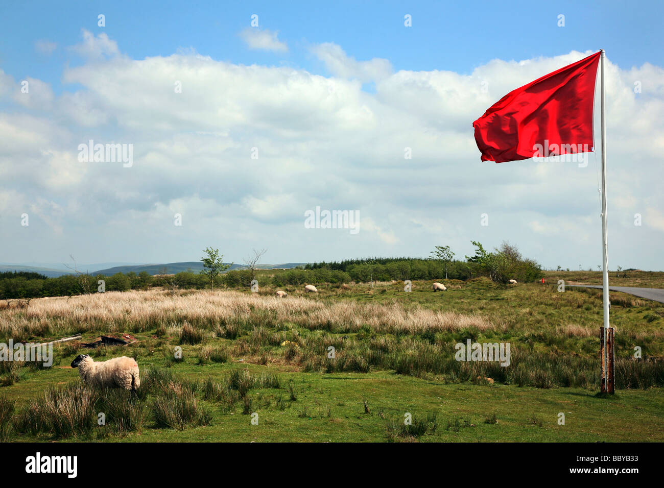 Red flag warning that the army firing ranges are in use on Garth Hill, a popular Mid-Wales viewpoint near Builth - Stock Image