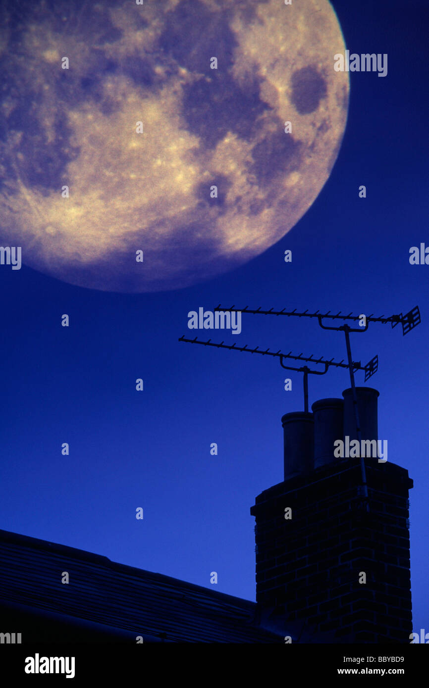 Huge Moon Chimney Television Aerial roof top Cowes Isle of Wight England UK - Stock Image