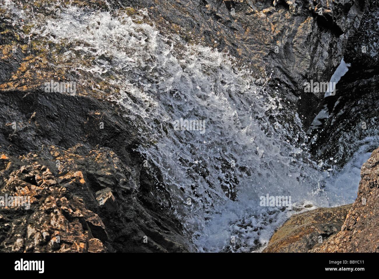 Rock formations. The Fairy Pools, Allt Coir' a' Mhadaidh, Coire na Creich, Glen Brittle, Minginish, Isle of Skye, Scotland, U.K. Stock Photo