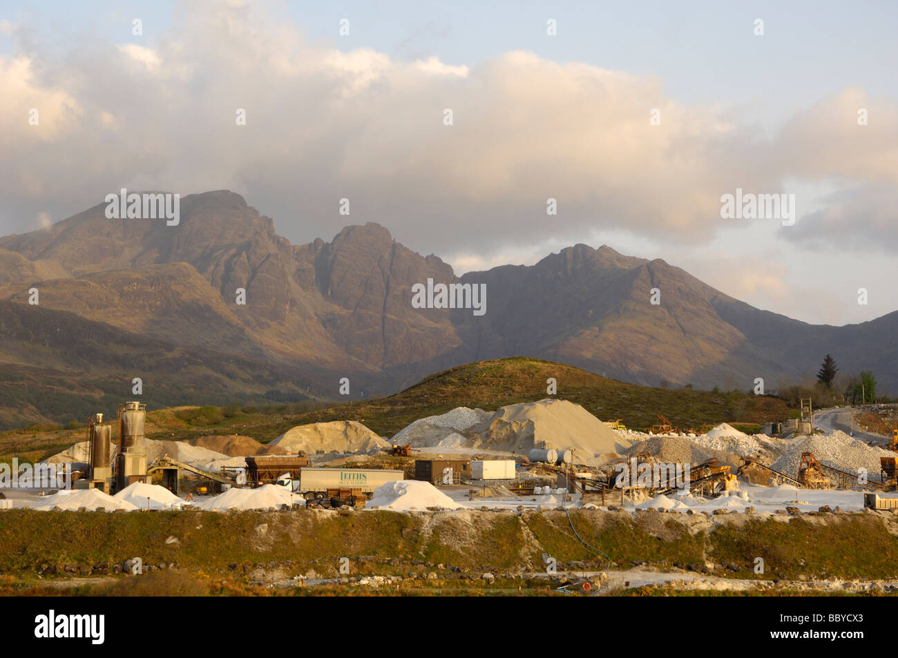 Skye marble quarry and Cullin Mountains, Torrin, Isle of Skye, Scotland - Stock Image