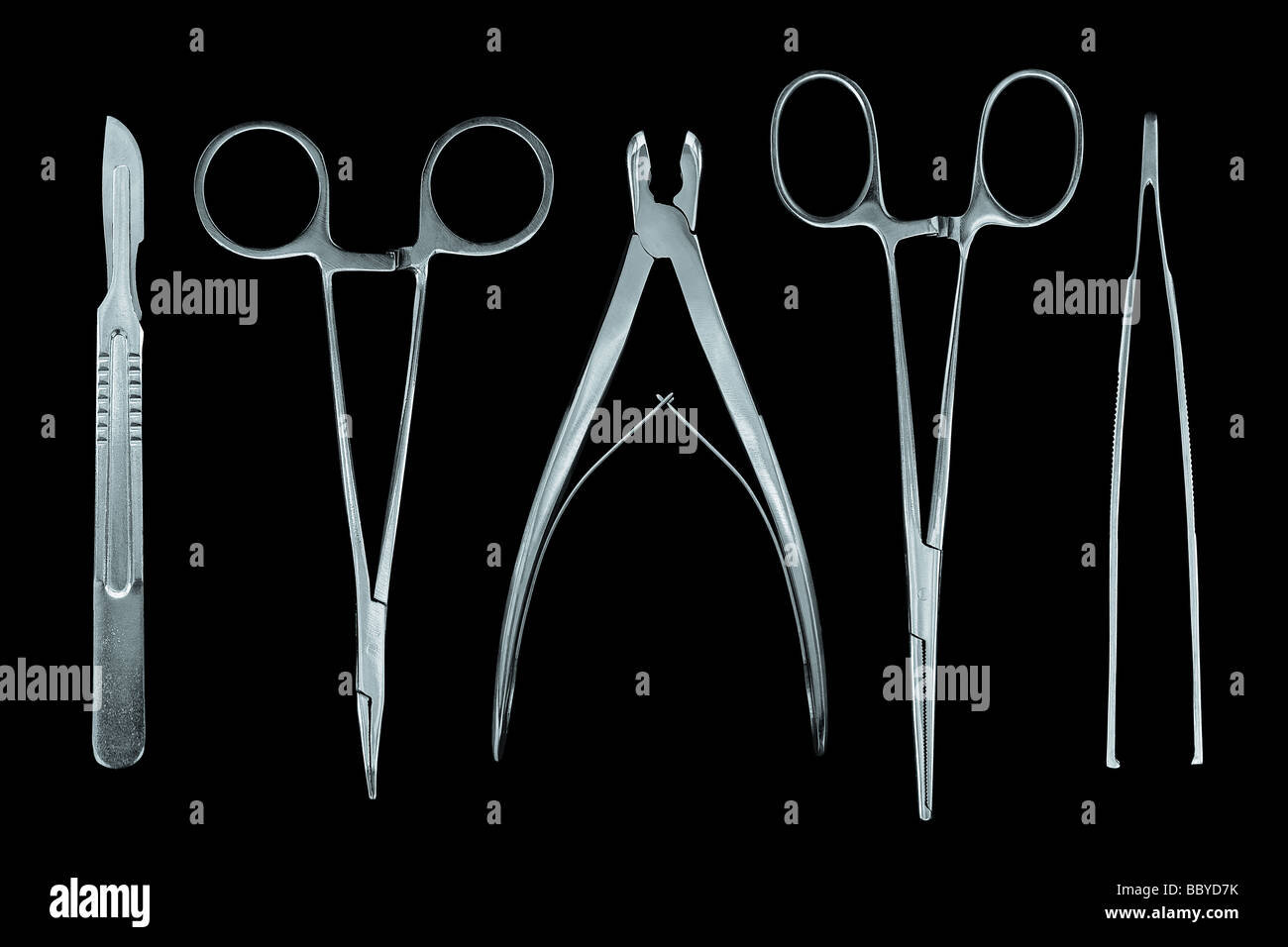 surgeon tools isolated on the black background - Stock Image