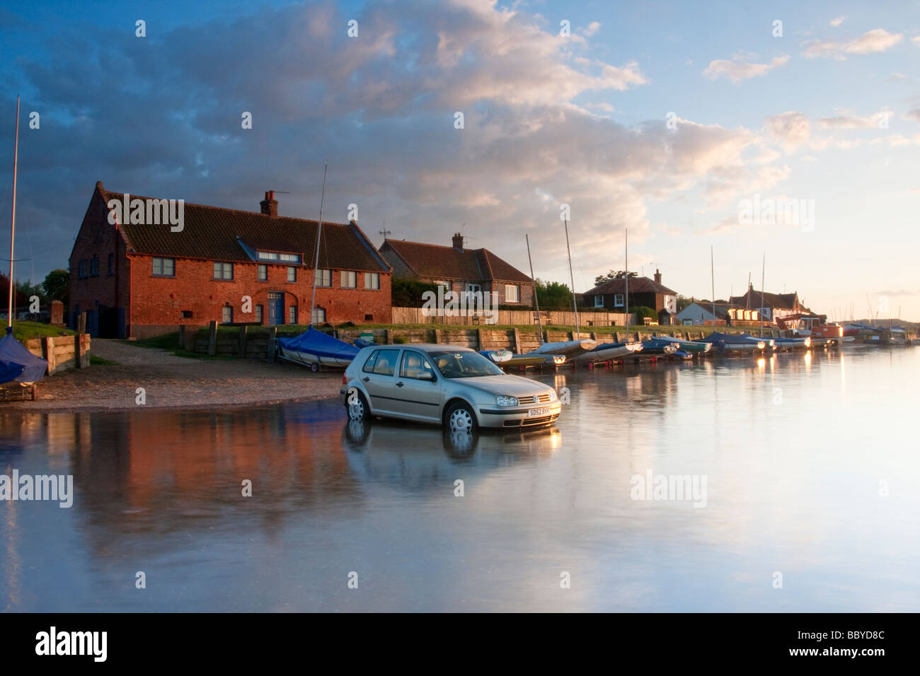Car parked and left at Burnham Overy Staithe on the Norfolk Coast ...
