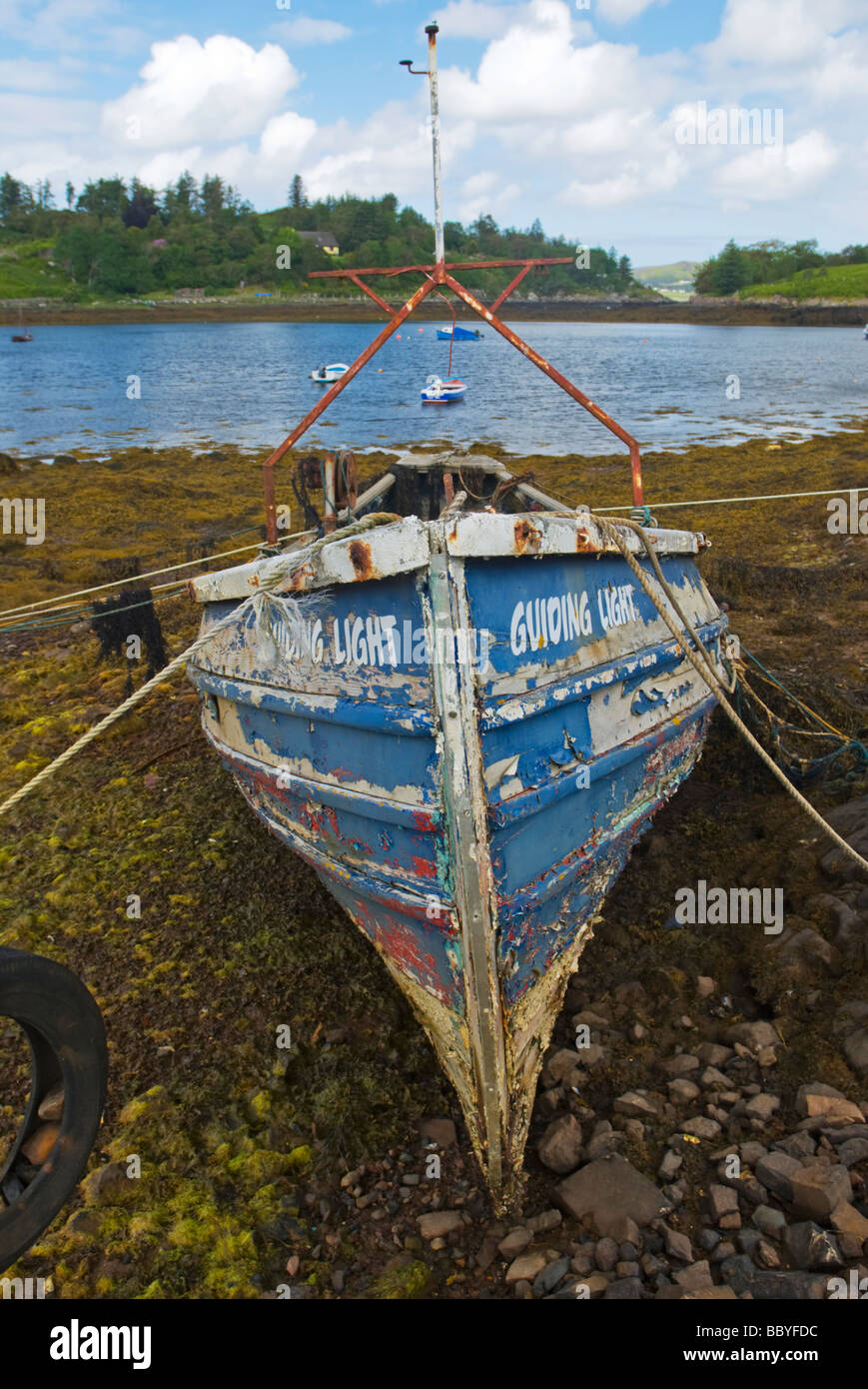Old Boat at Badachro, Gairloch, Wester Ross, North West Highland Scotland - Stock Image