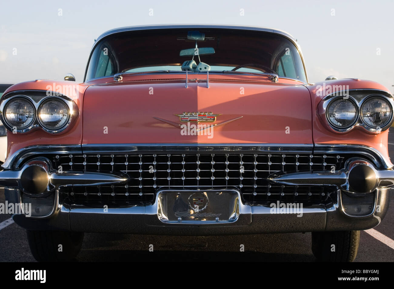 Pink Cadillac in Florida - front view - Stock Image