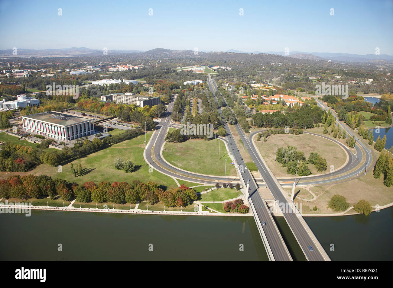 National Library of Australia left Commonwealth Avenue and Lake Burley Griffin Canberra ACT Australia aerial - Stock Image