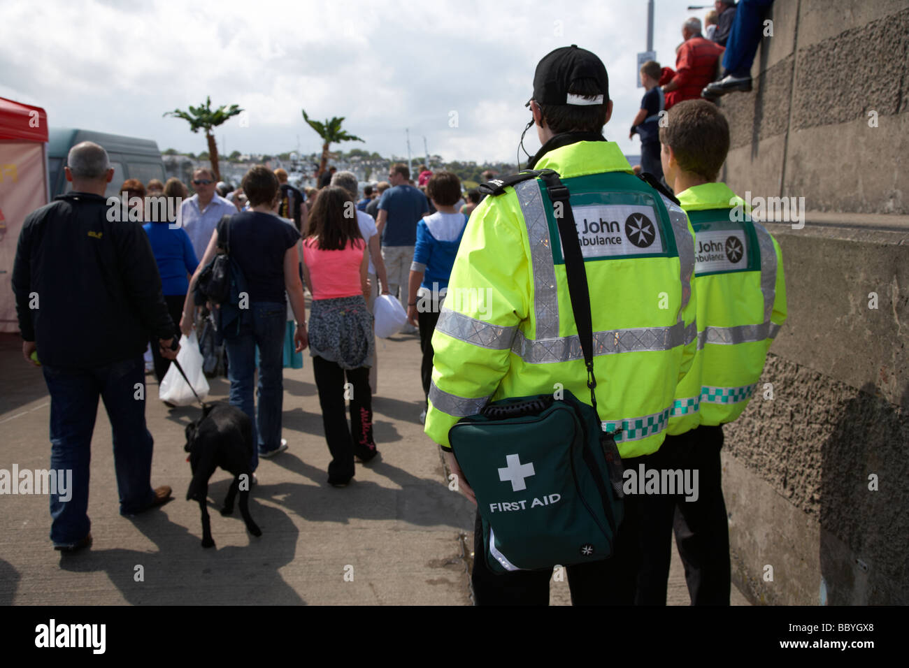 st john ambulance staff on first aid duty at a public event in bangor county down northern ireland uk - Stock Image