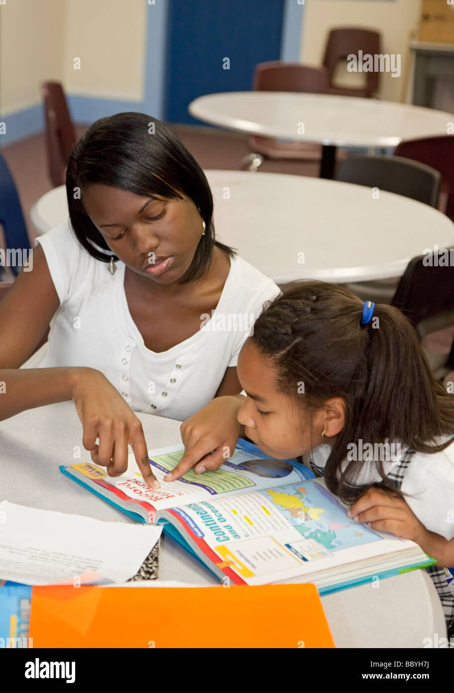 After school tutoring at community center in New Orleans - Stock Image