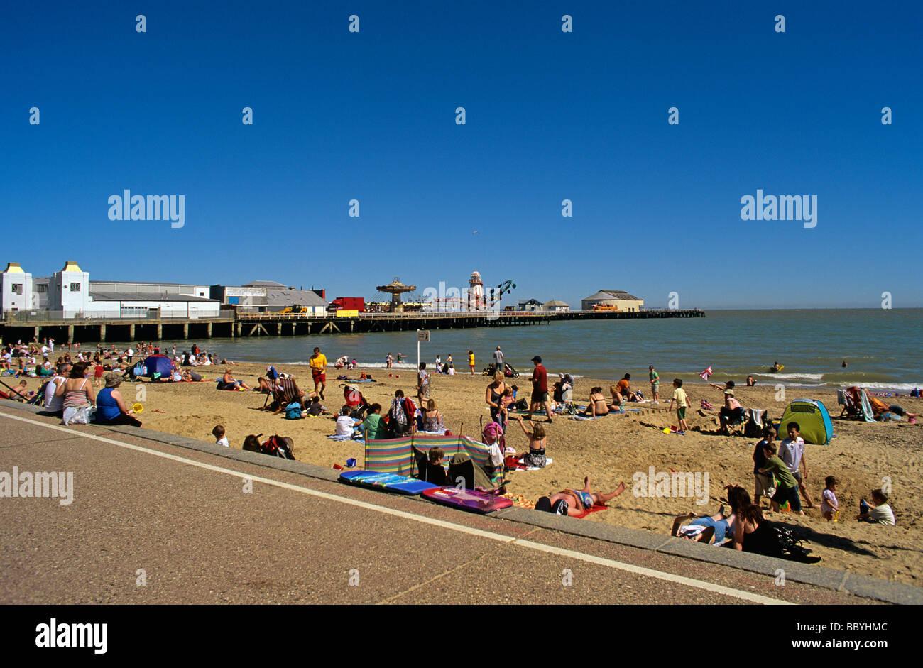 Beach promenade and amusement Pier at Clacton on Sea on the Essex coast - Stock Image