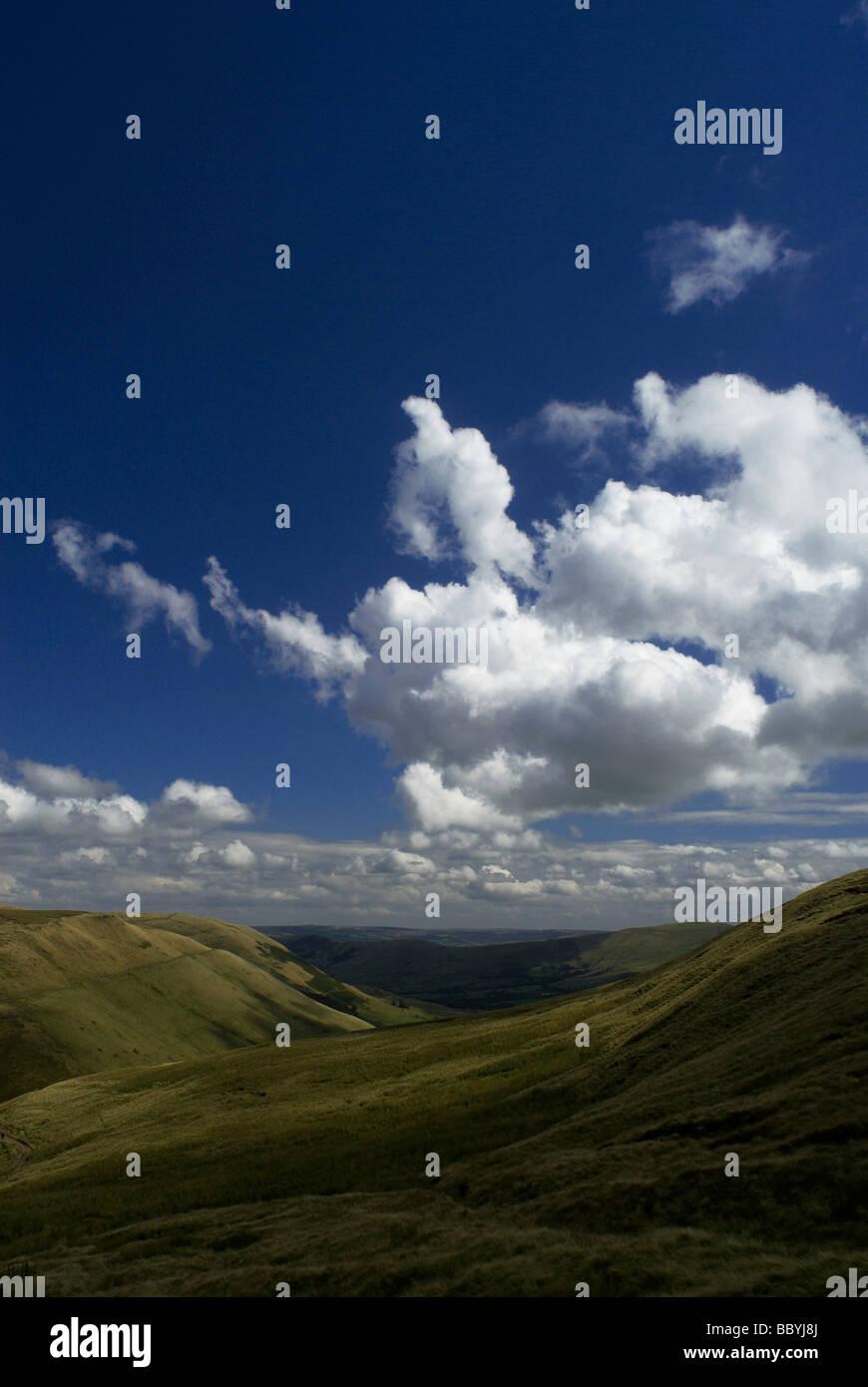 Upland landscape under blue sky and clouds - Stock Image