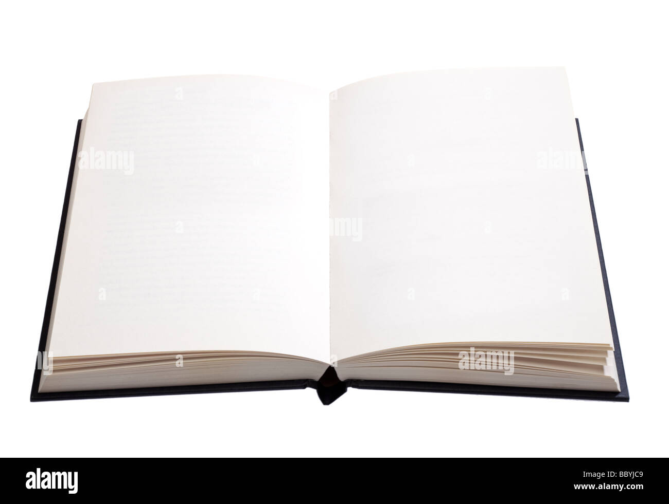 Open book, with white blank pages - cut out - Stock Image