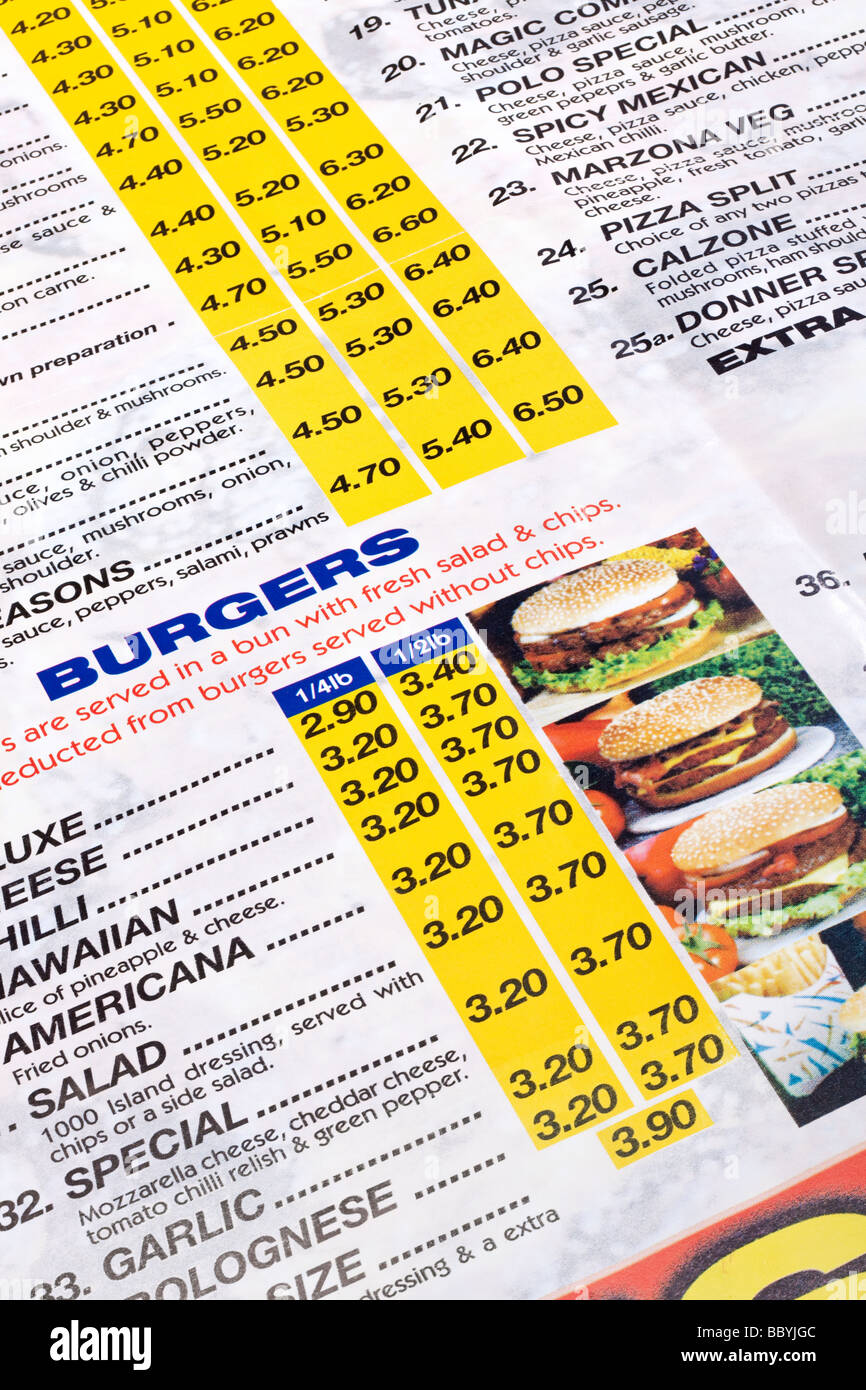 Close up of a fast food takeaway menu - Stock Image