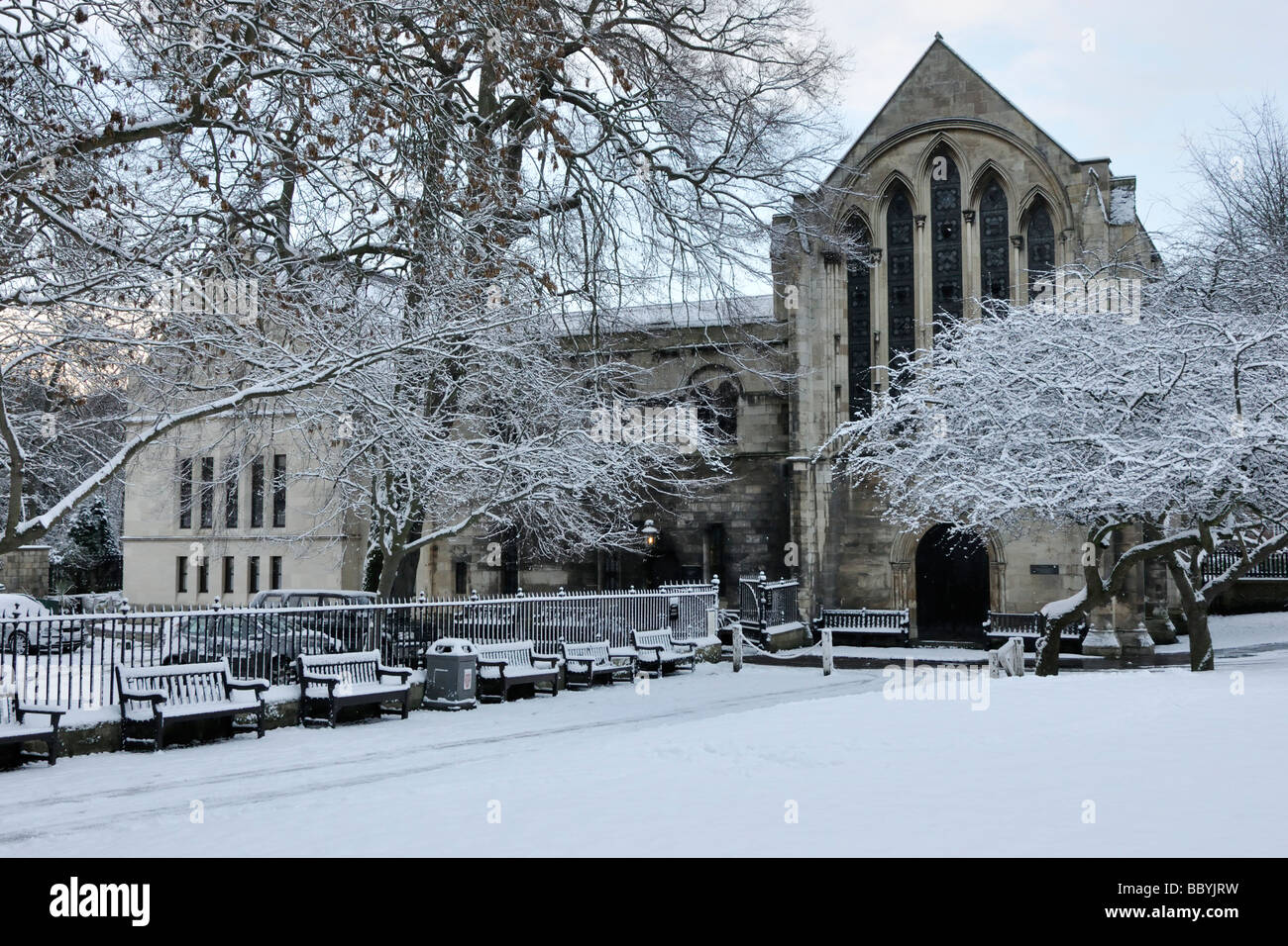 The Minster Library in snow, Deanery Gardens, York, England, UK. Stock Photo