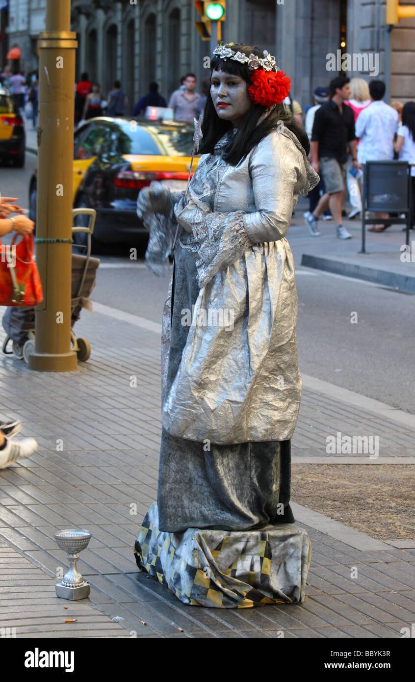 Mime La Rambla Barcelona Catalunya Spain - Stock Image