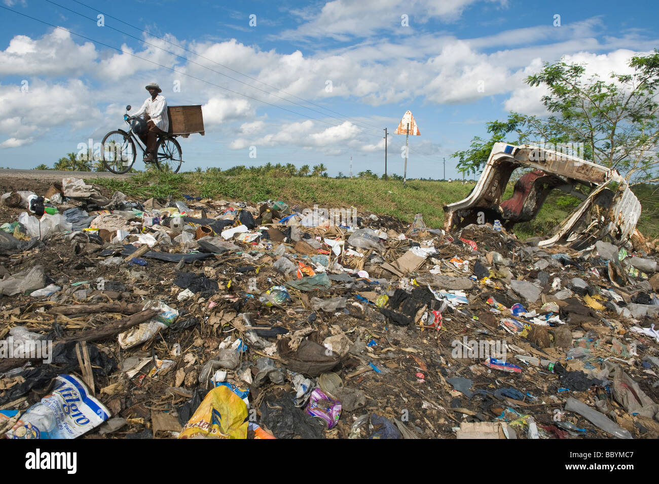 A rubbish dump on the outskirts of Quelimane Mozambique - Stock Image