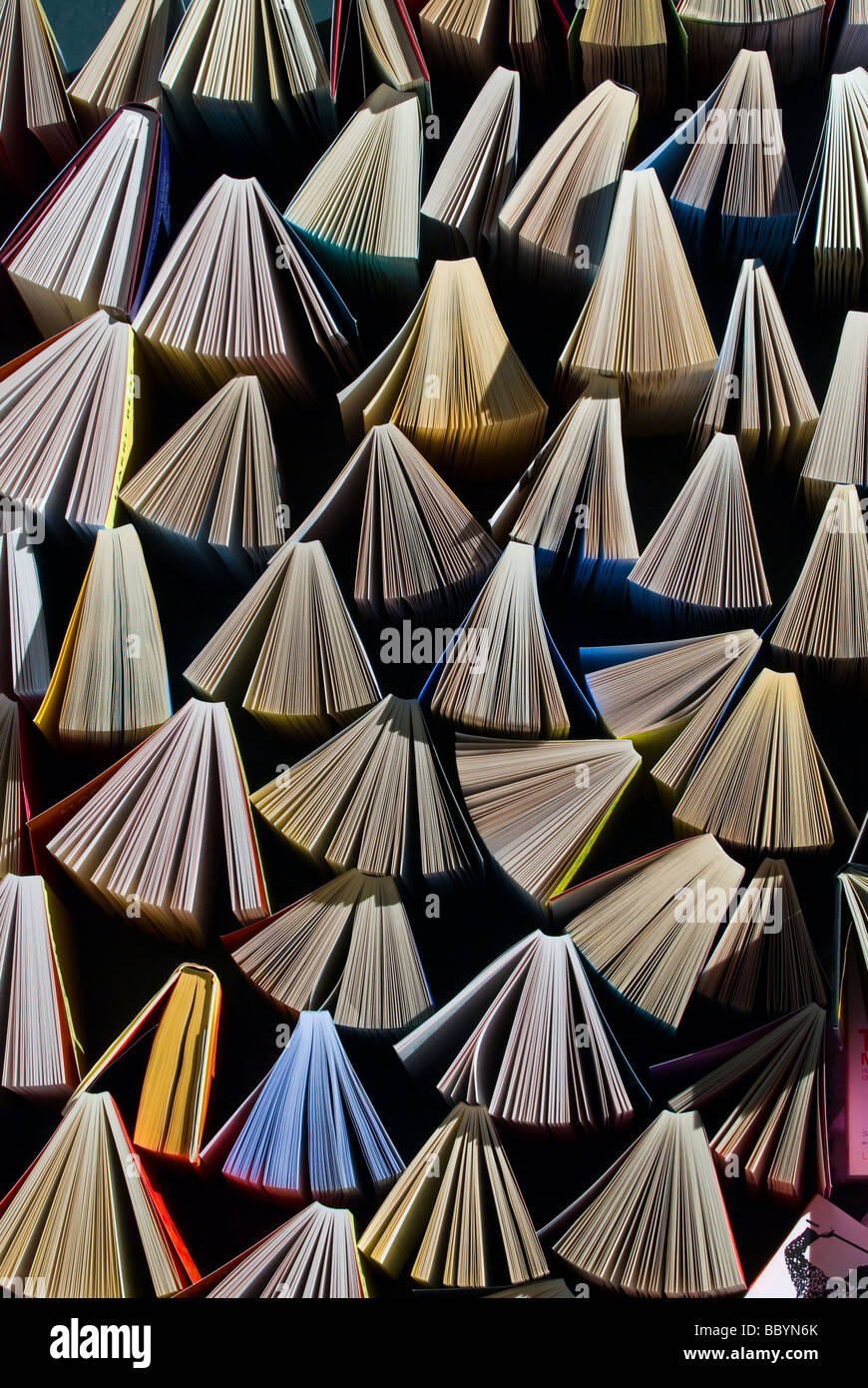 photograph of fanned out books - Stock Image