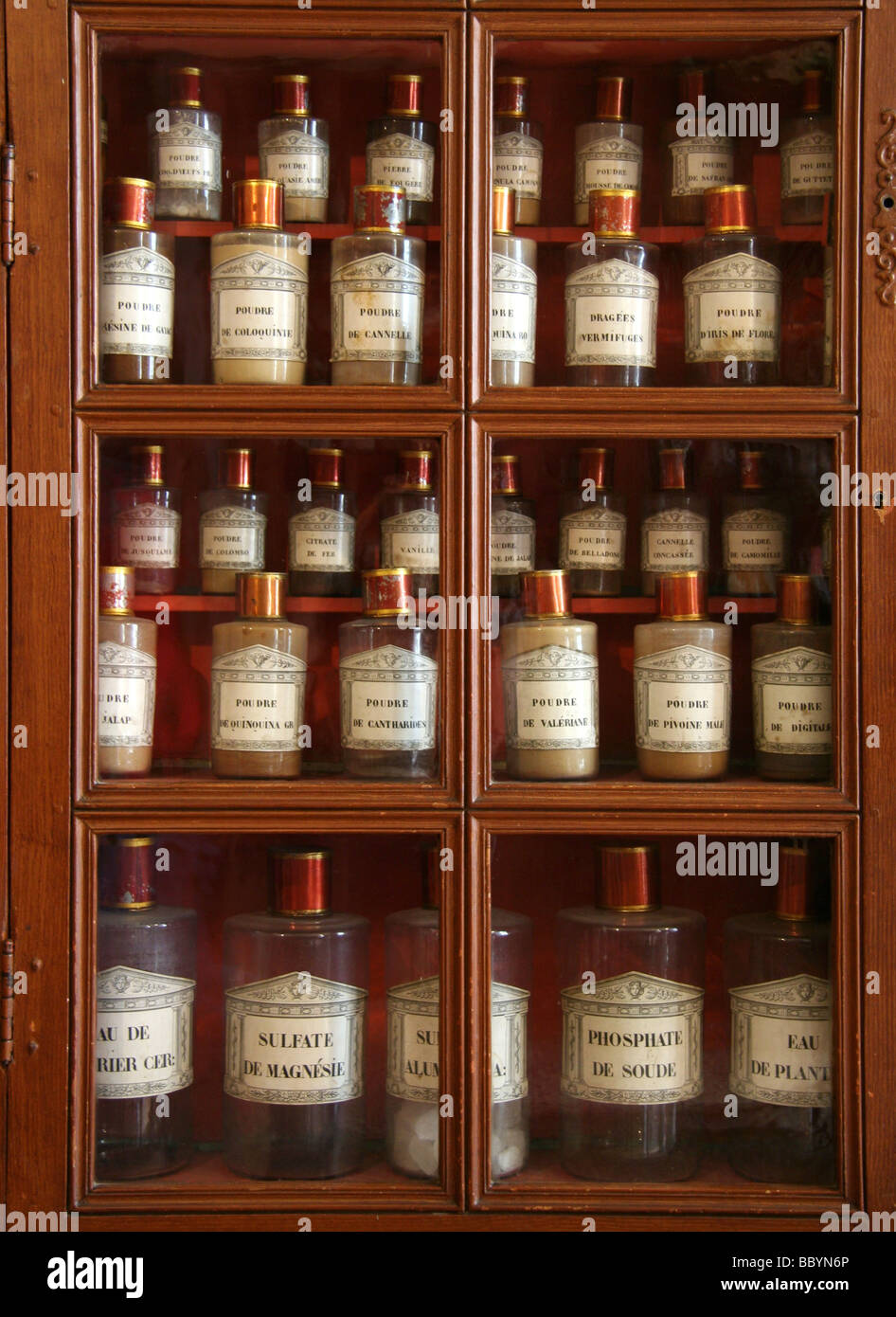Antique Apothecary   Hospices De Beaune, France. Wooden Cabinet With  Medicine Bottles.