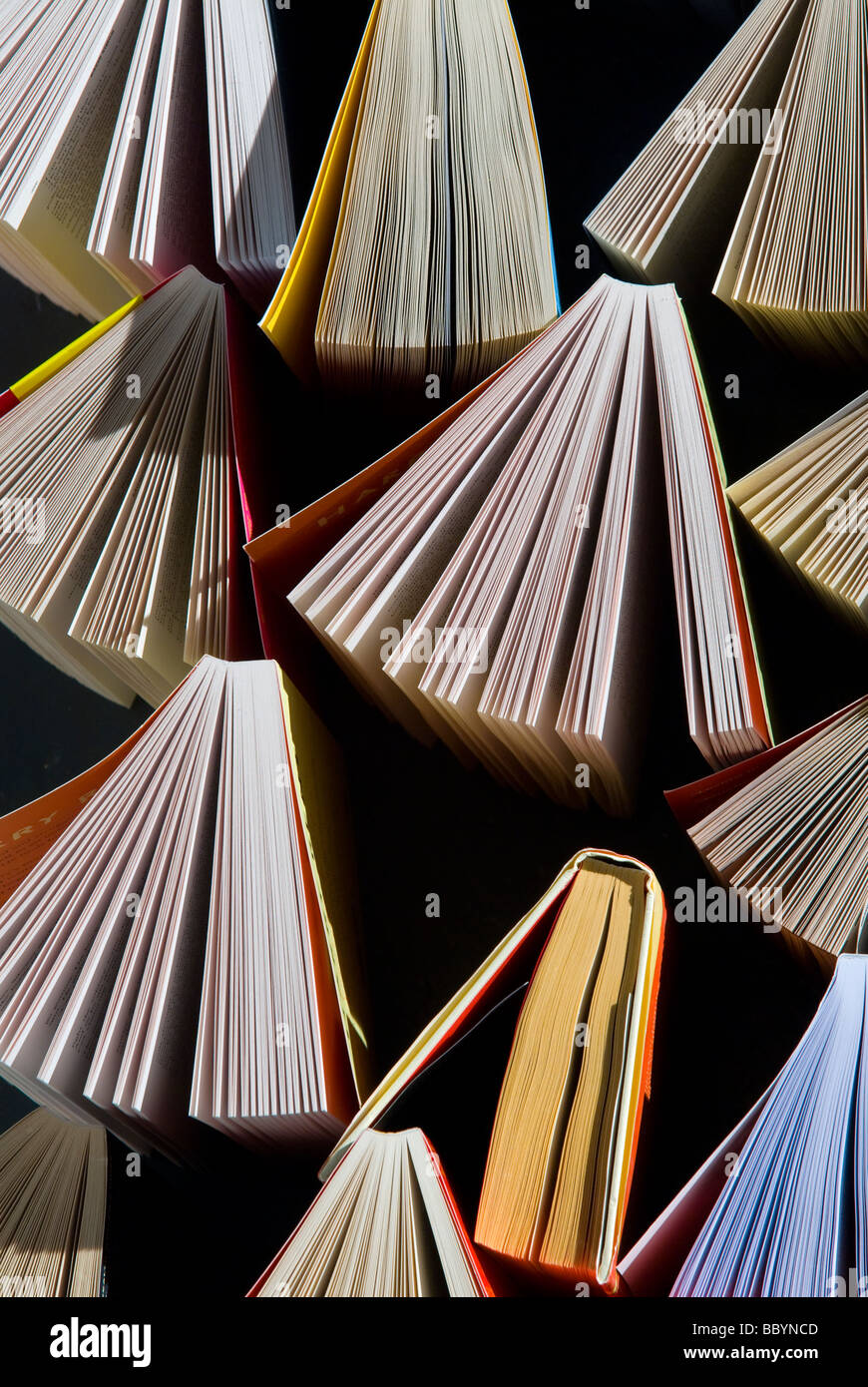 photograph of fanned out books with open pages - Stock Image