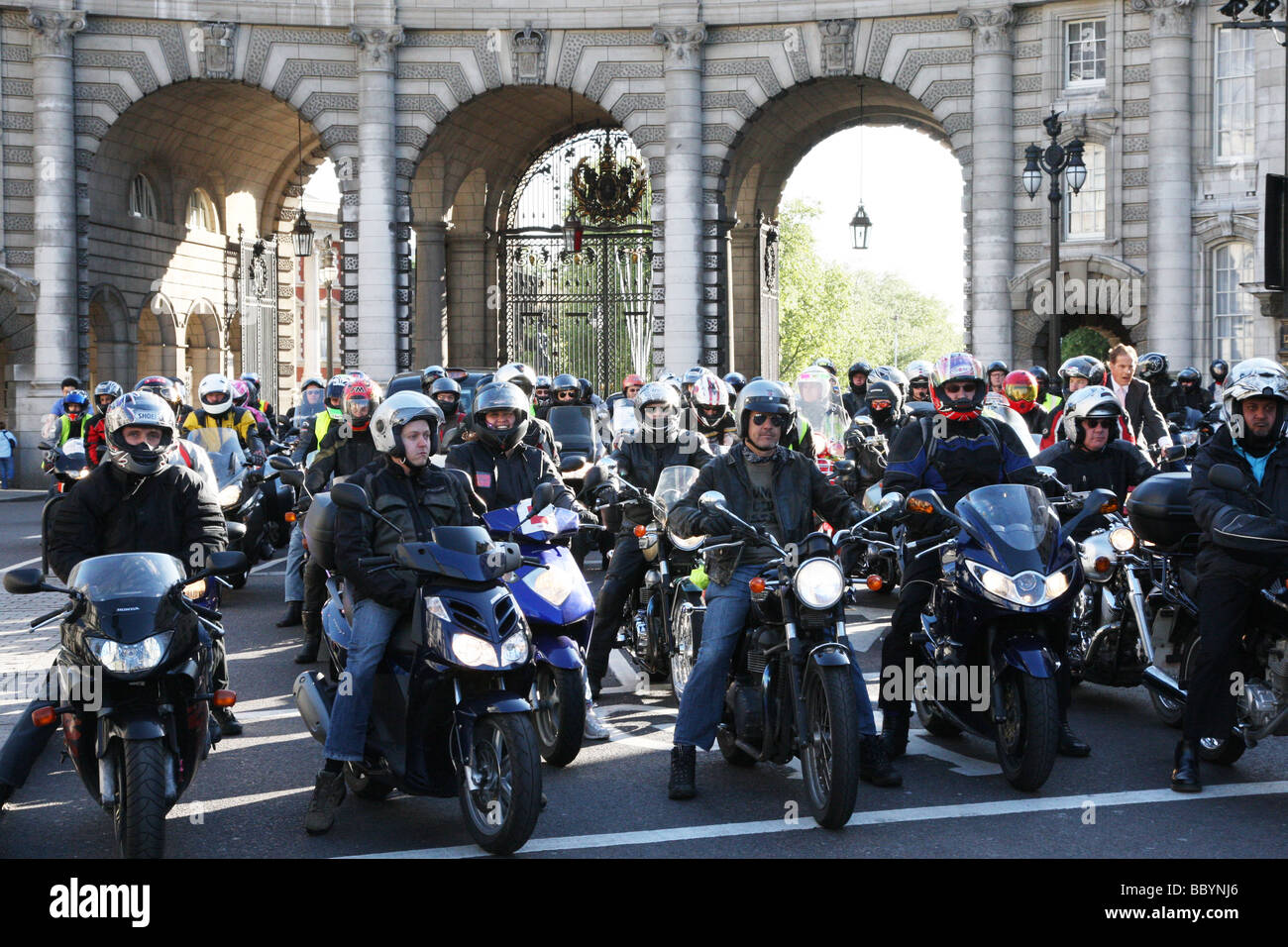 Motorcyclists in front of The Mall, London. They were protesting about parking issues in London. - Stock Image