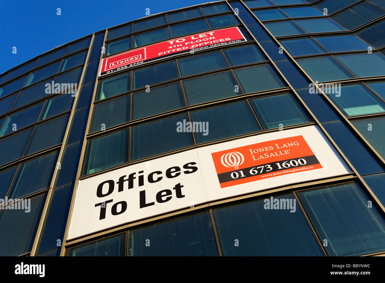 Estate agents To Let signs on business premises in central Dublin Republic of Ireland - Stock Image