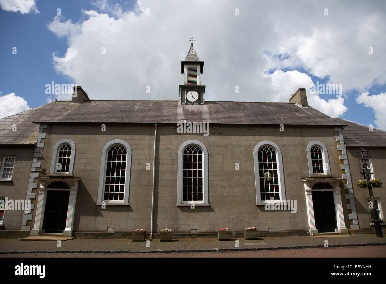 moravian church in 18th century gracehill village a moravian settlement in county antrim northern ireland uk - Stock Image