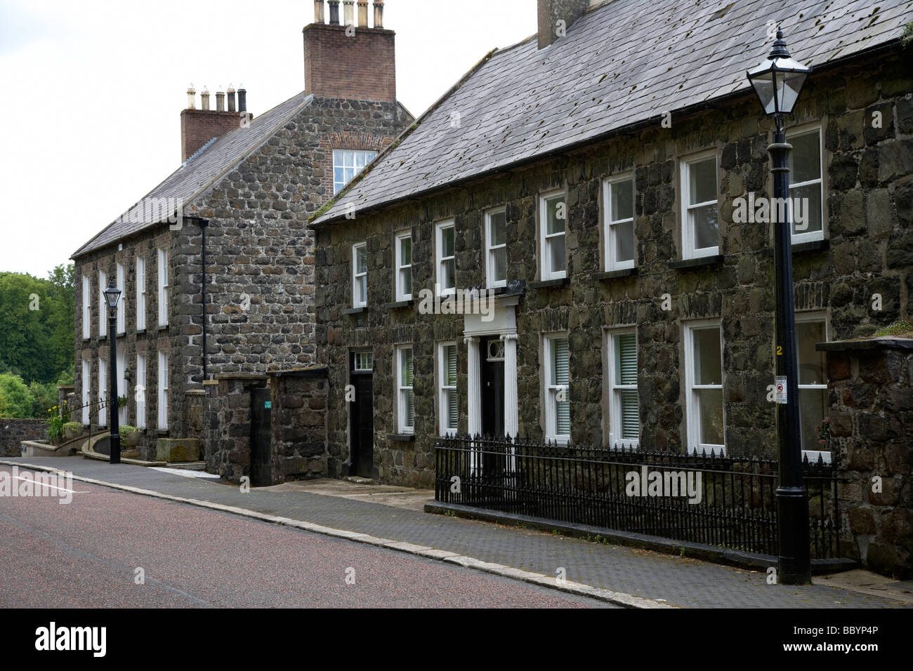 montgomery street in 18th century gracehill village a moravian settlement in county antrim northern ireland uk - Stock Image