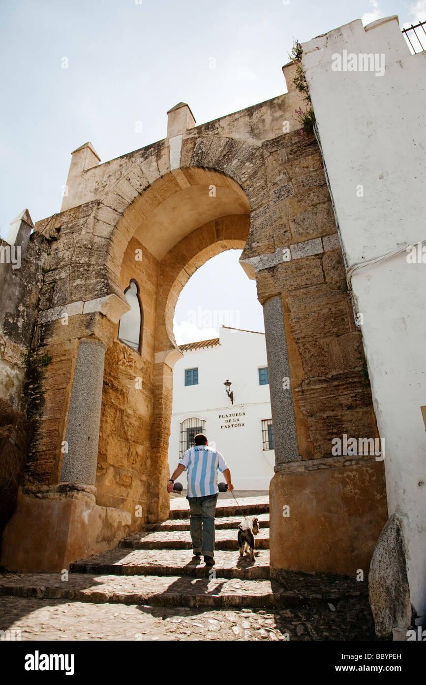Arabic Arch door Pastora in the white village of Medina Sidonia in Cádiz Andalusia Spain Stock Photo