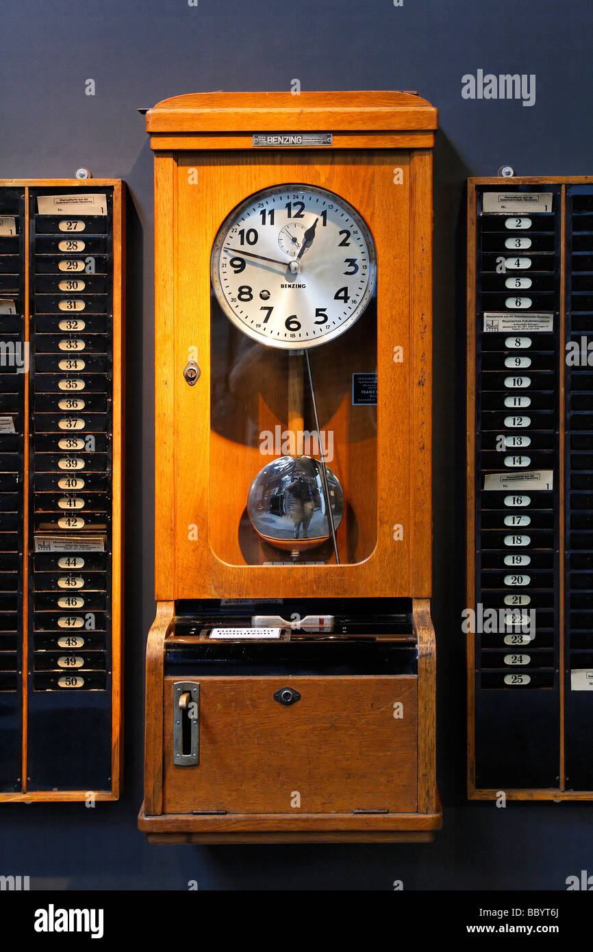 Old time stamp clock, Hendrichs swage forge, LVR Industrial Museum, Solingen, North Rhine-Westphalia, Germany, Europe - Stock Image