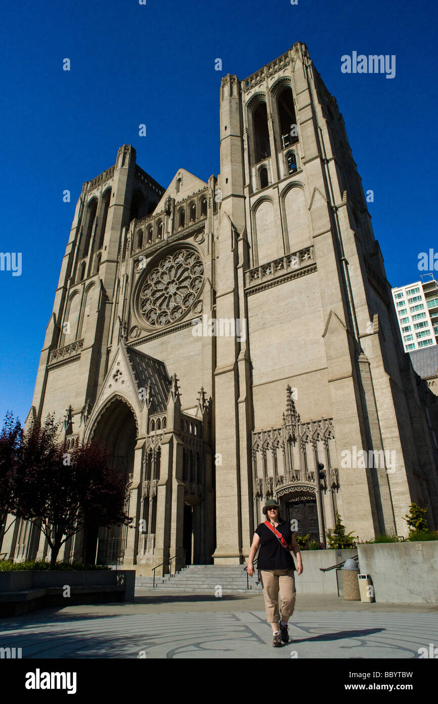 A woman walks in the labyrinth in front of Grace Cathedral