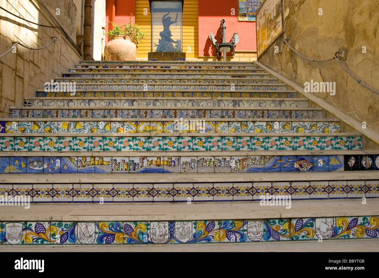 Ceramic tiles, decorative stairs, Sciacca, Sicily, Italy, Europe ...