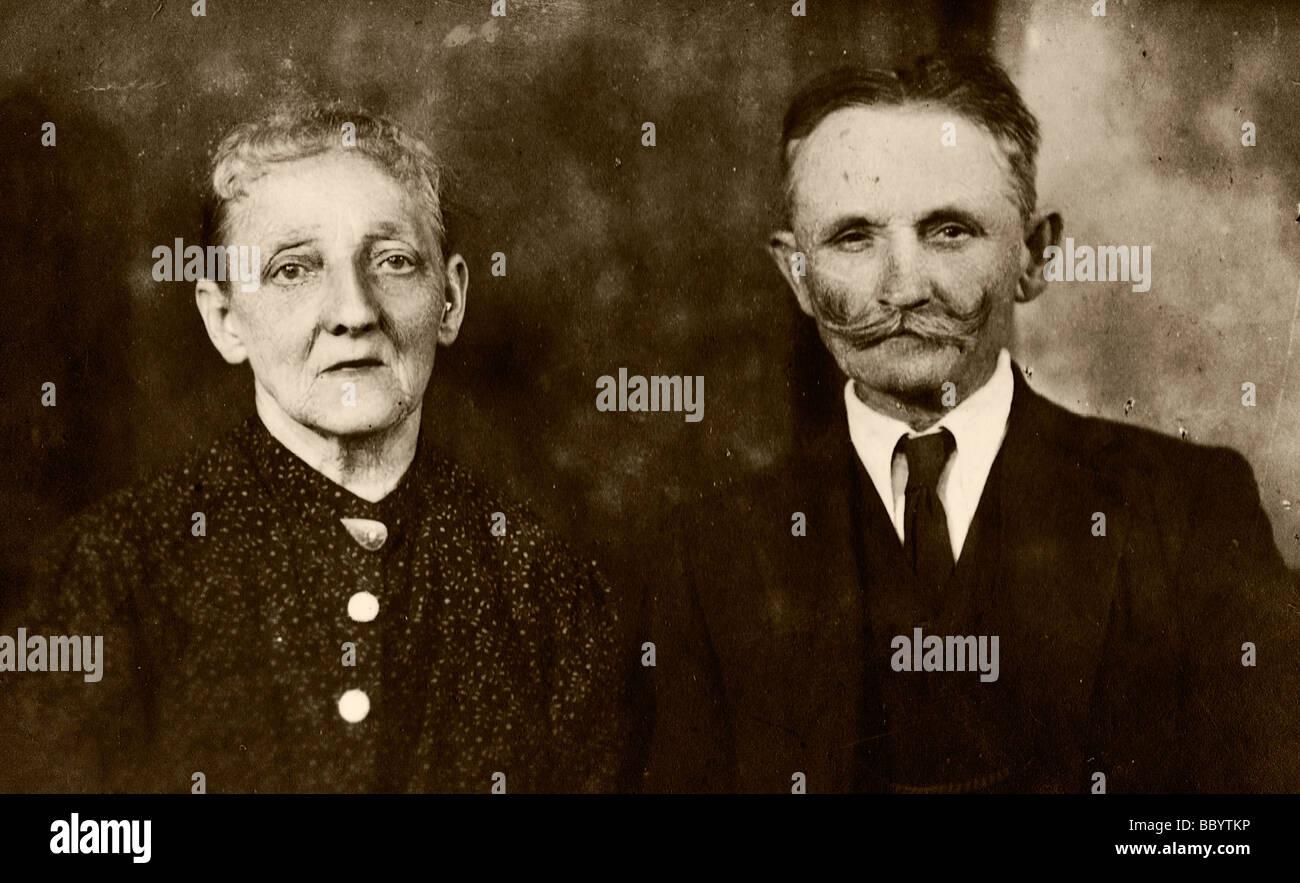 Elderly couple, historical photograph, circa 1920 Stock Photo